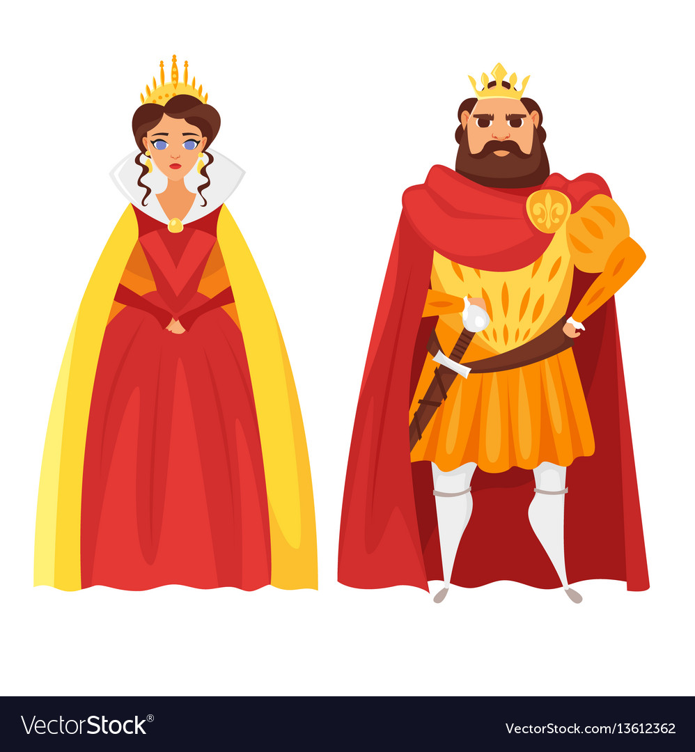 Cartoon style of king and queen