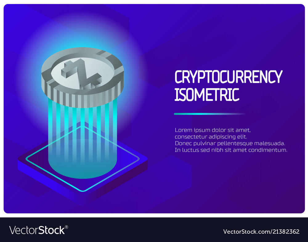 Cryptocurrency color isometric banner