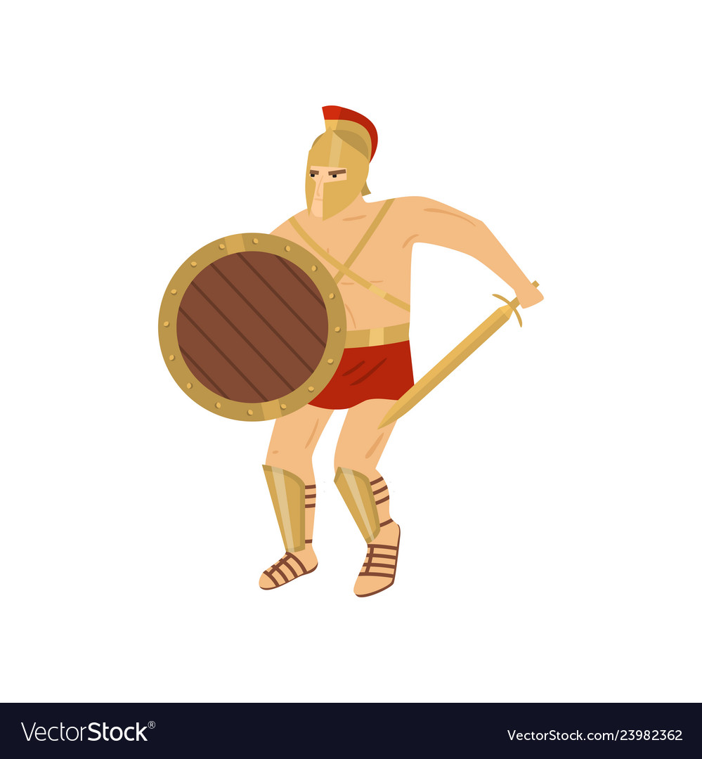 Fighting strong gladiator in red loincloth