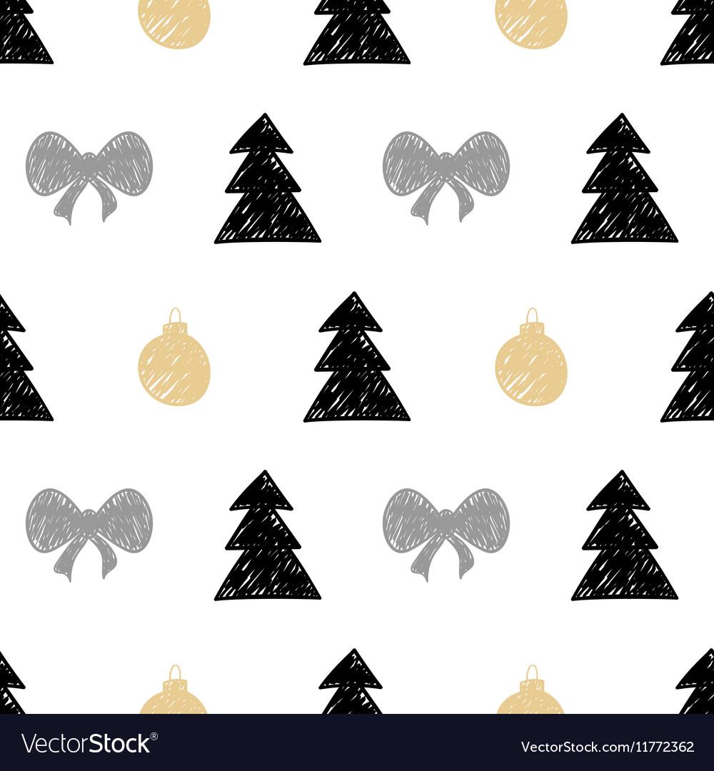 Hand drawn Christmas tree gift ball seamless