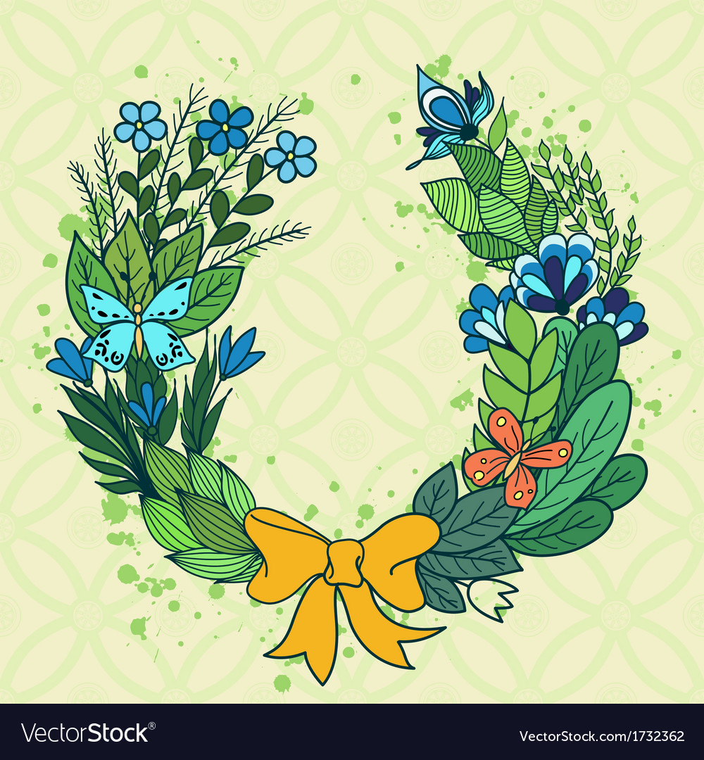 Handdrawn floral wreath with blue flowers vector image izmirmasajfo