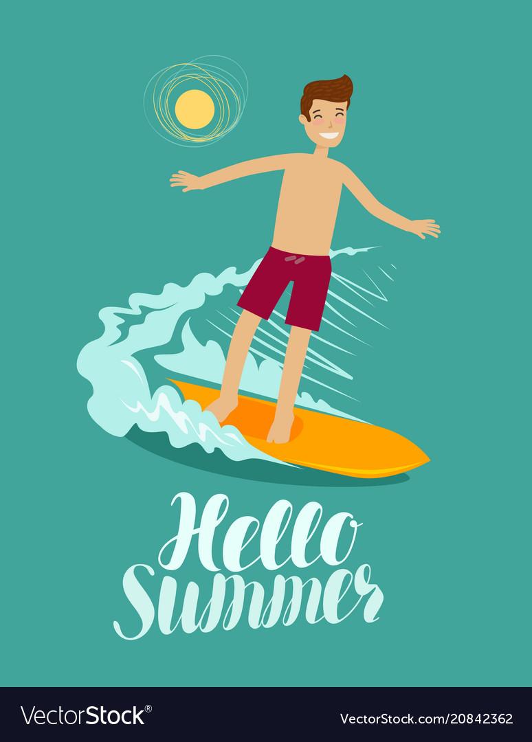 Hello summer banner surfer and wave surfing