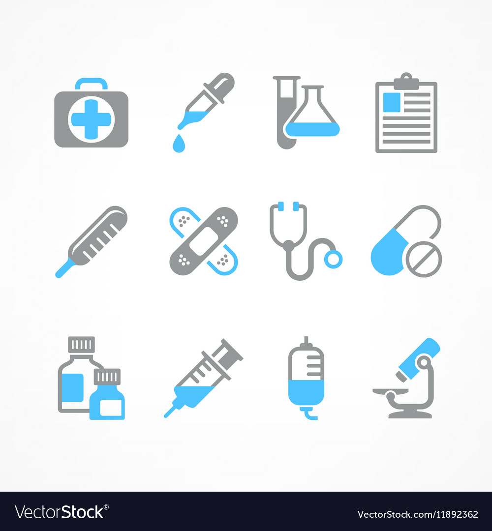 Medical icons in blue