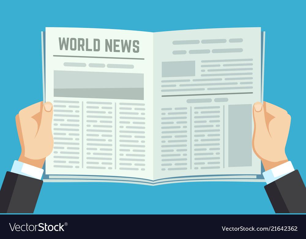 Newspaper in hands businessman holding financial