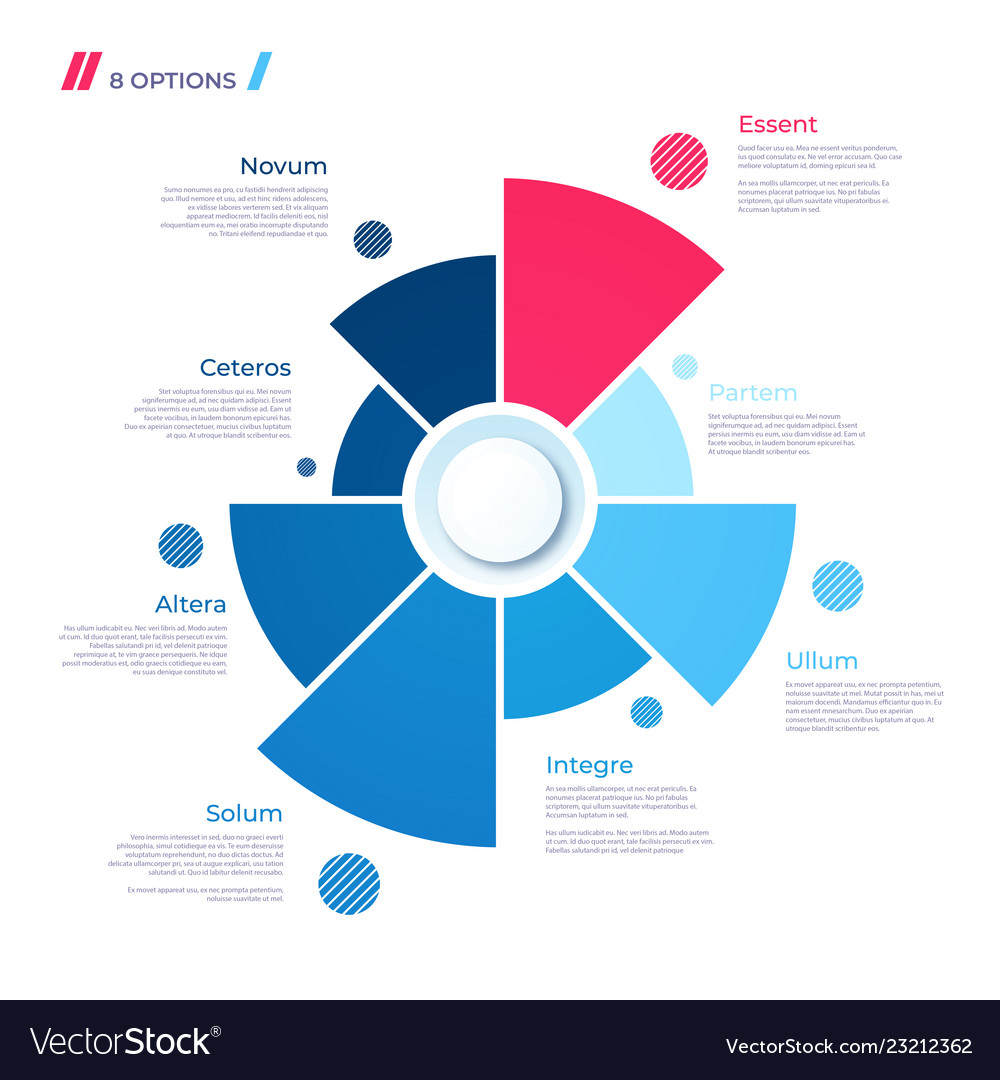 Pie chart concept with 8 parts template