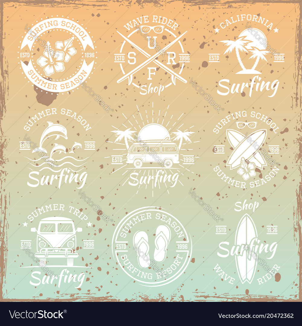 Surfing light emblems on bright background