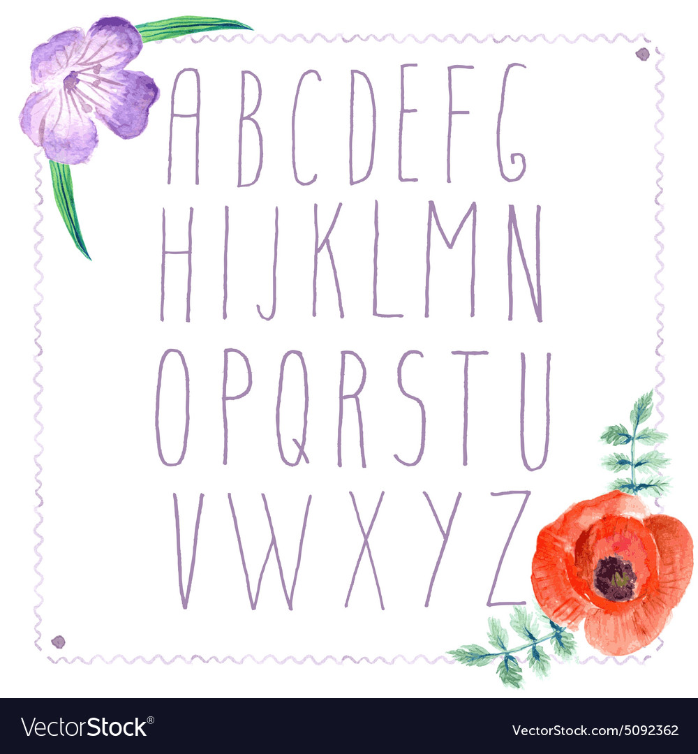 Watercolor alphabet with flowers in vintage style