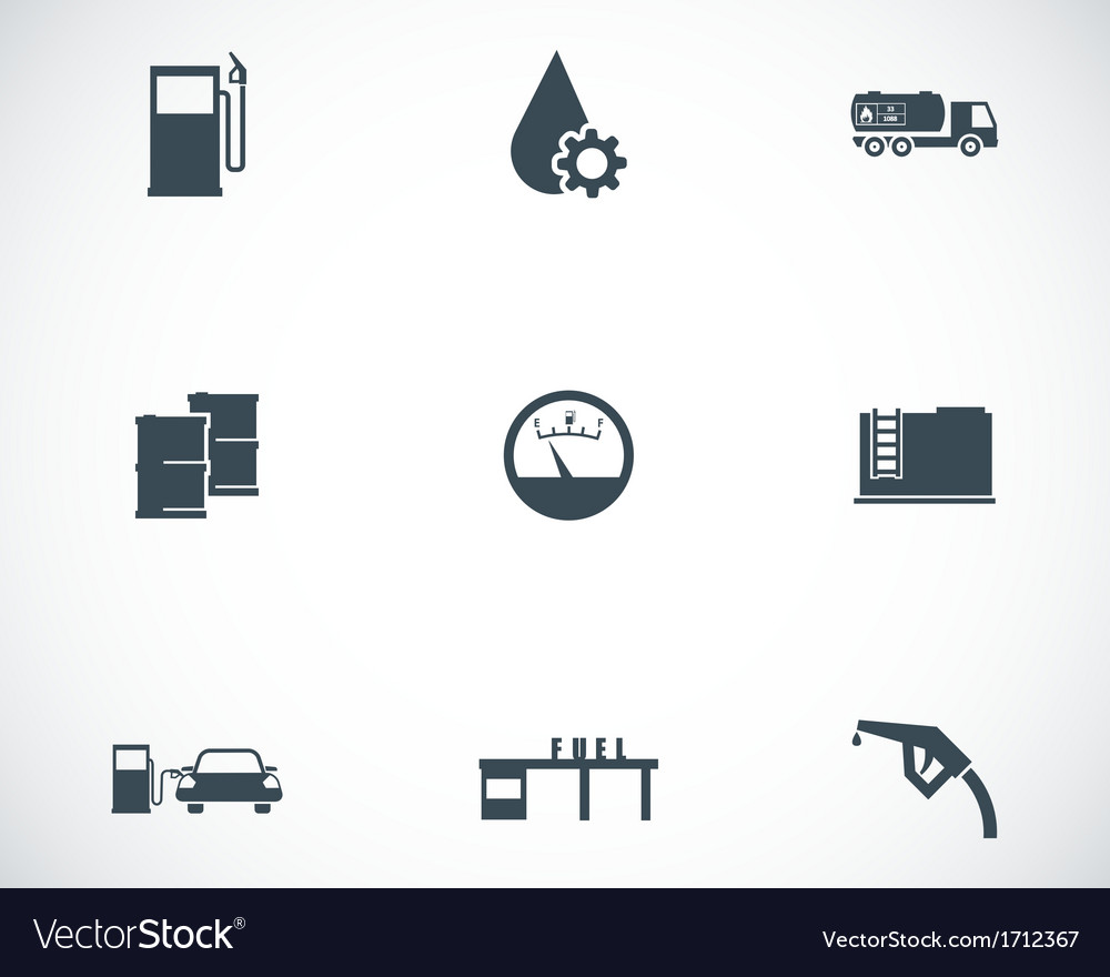 Black gas station icons set