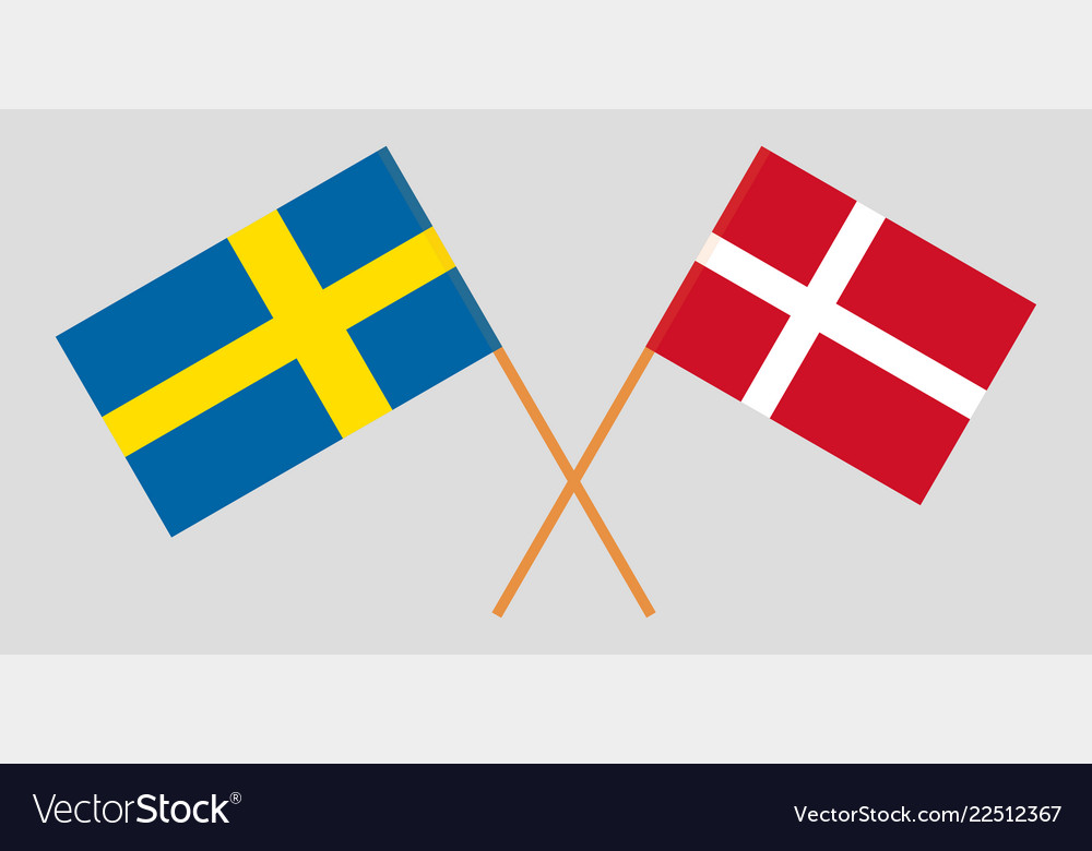 Crossed Swedish And Danish Flags Royalty Free Vector Image