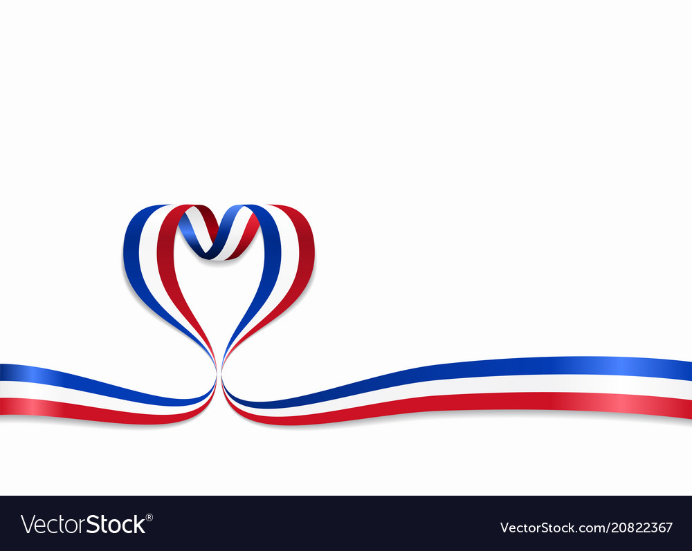 French flag heart-shaped ribbon