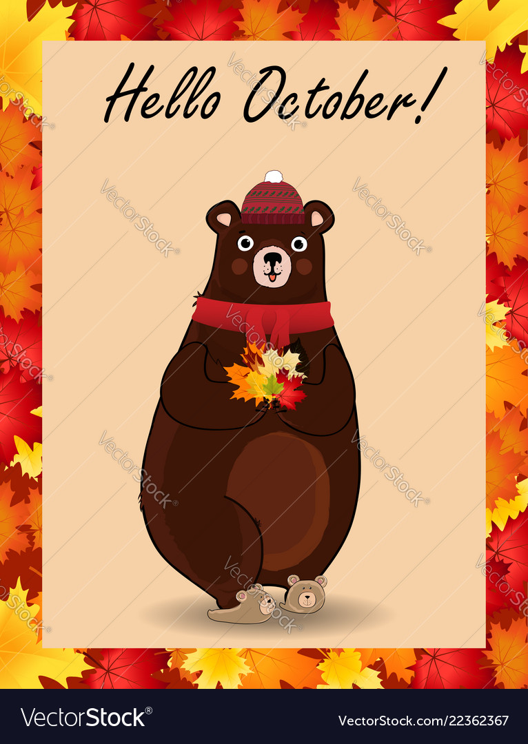 Hello october postcard with cute bear in hat and
