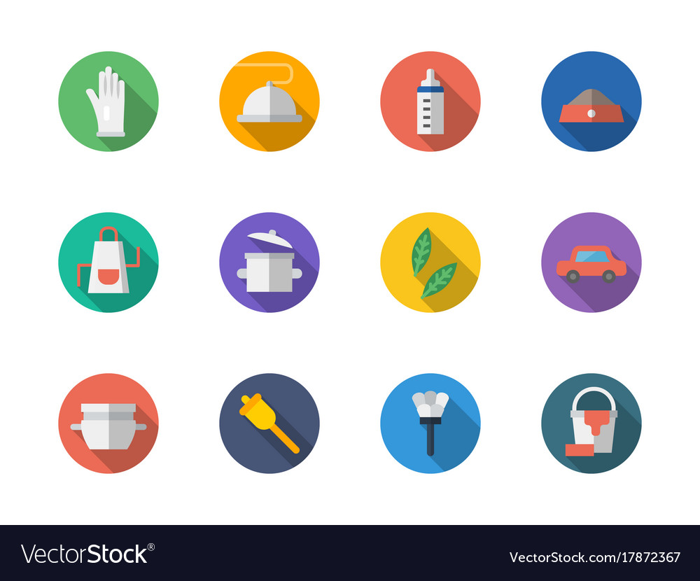 Housekeeping staff flat round icons set vector image