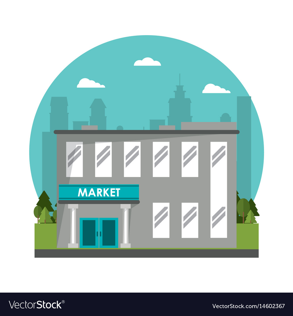 Market building commercial tree city background vector image