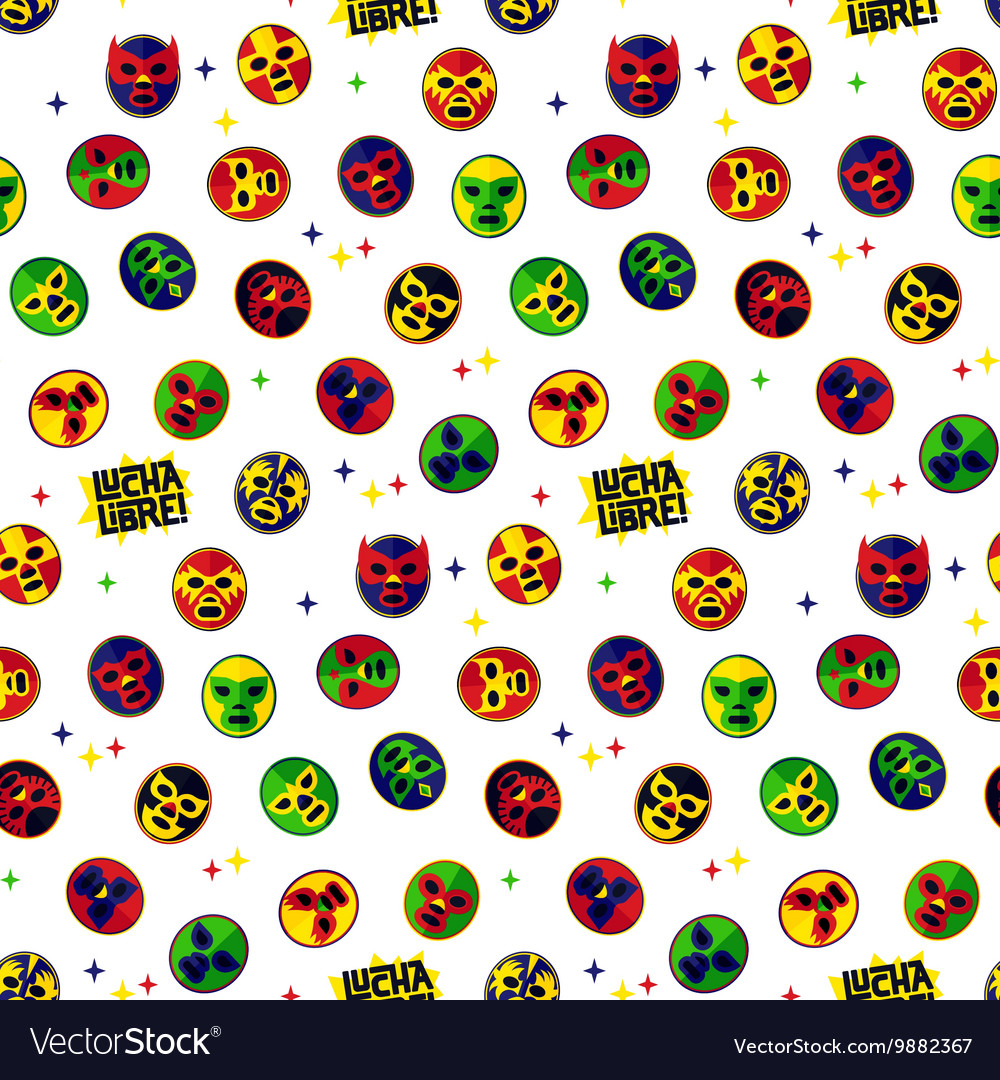 Mexican wrestling Seamless Pattern vector image
