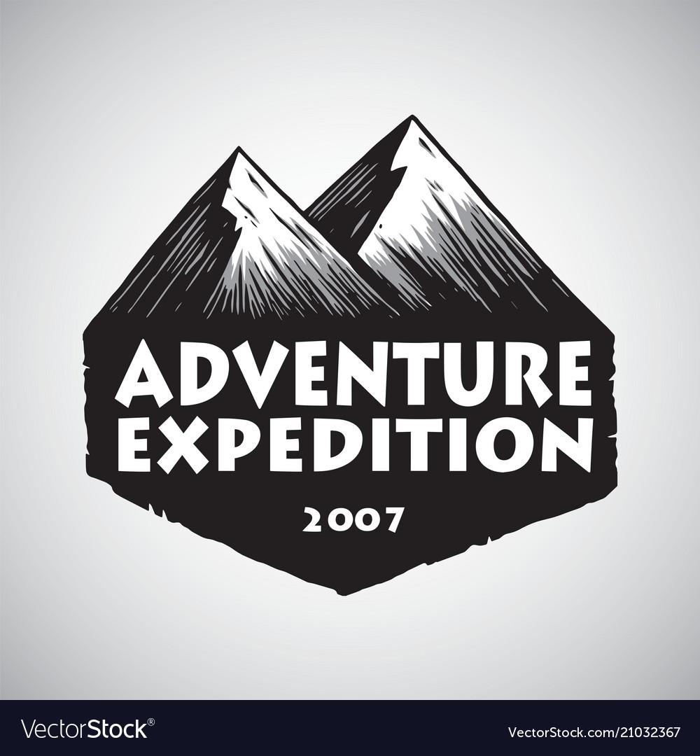 Mountain sport adventure camping logo design vector image