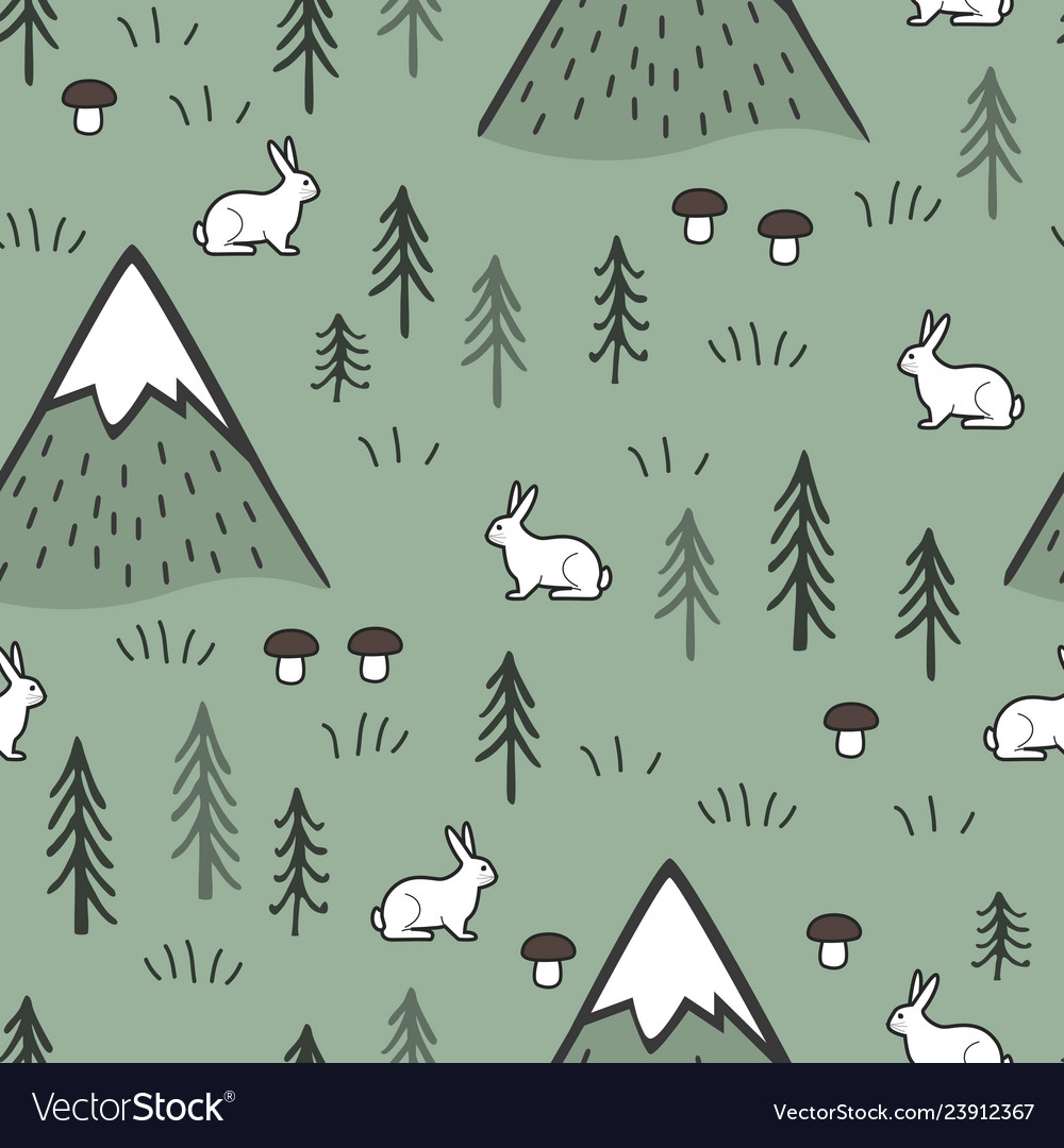 Rabbit and mountains seamless pattern background