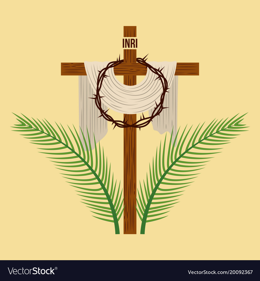 Religious Cross Crown And Palm Branches Royalty Free Vector