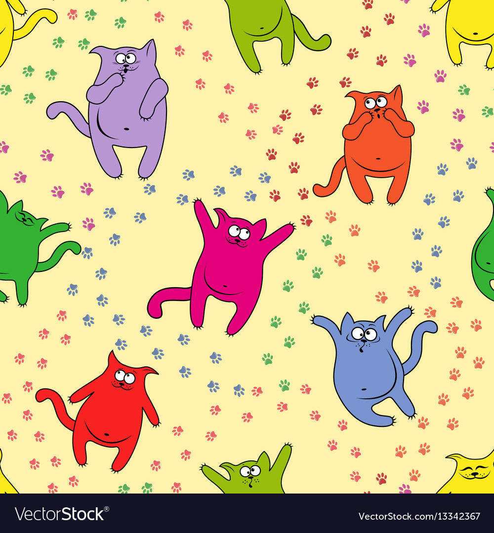 Seamless pattern with amusing cats