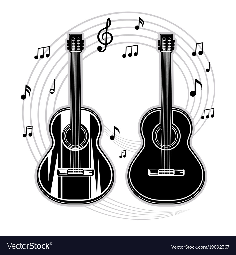 Silhouette of a guitar and musical notes