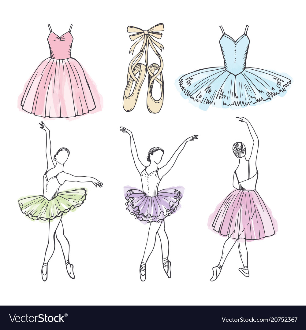 Sketch pictures of different ballet dancers vector image