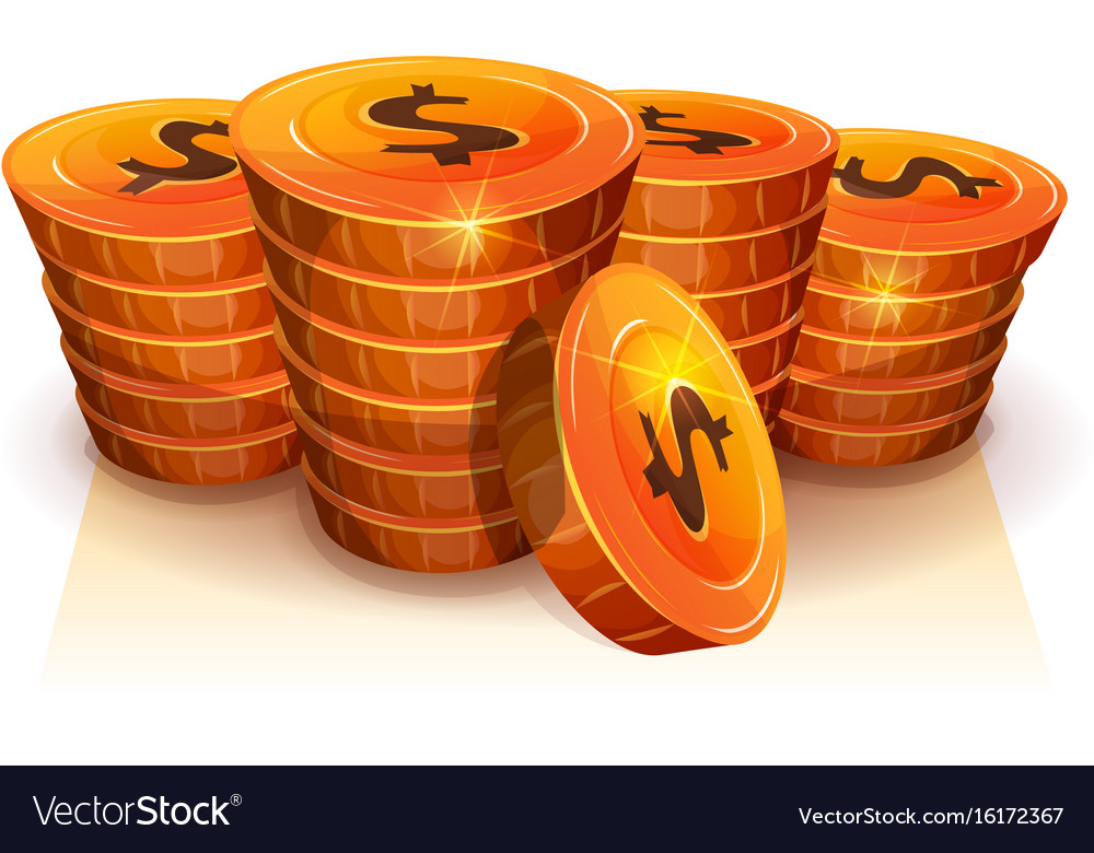 Stack of dollar coins for game ui
