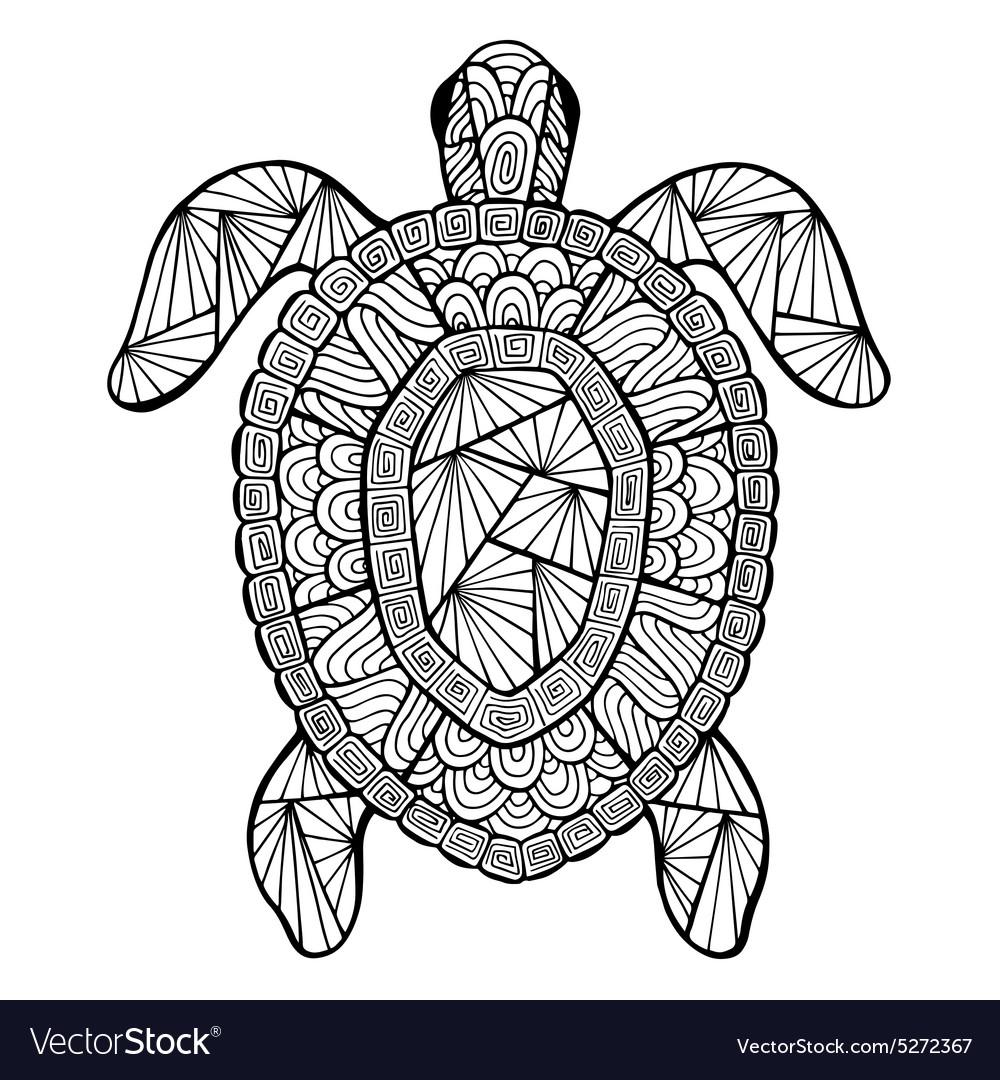stylized turtle zentangle royalty free vector image