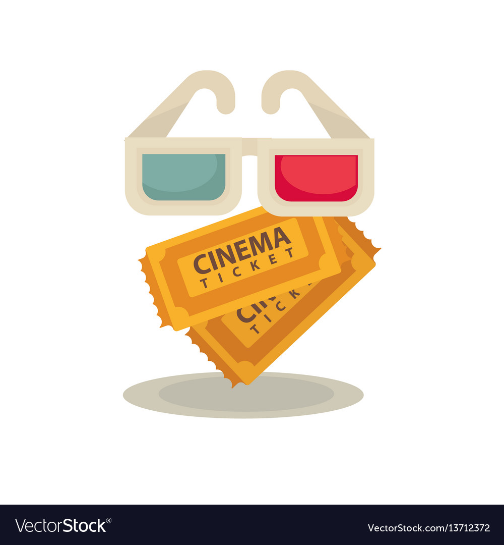 3d movie glasses and two brown tickets isolated on