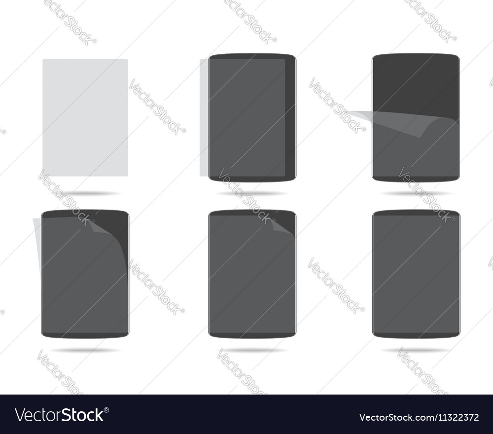 Apply screen protector tablet PC vector image