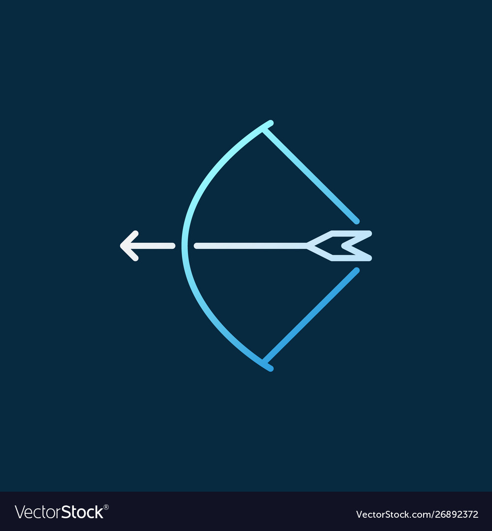 Bow with arrow colored concept linear icon