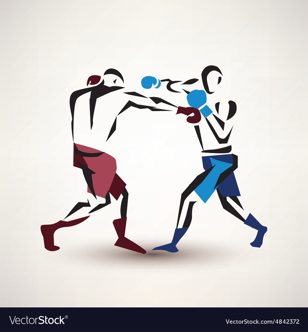 Boxing couple silhouette stylized sketch