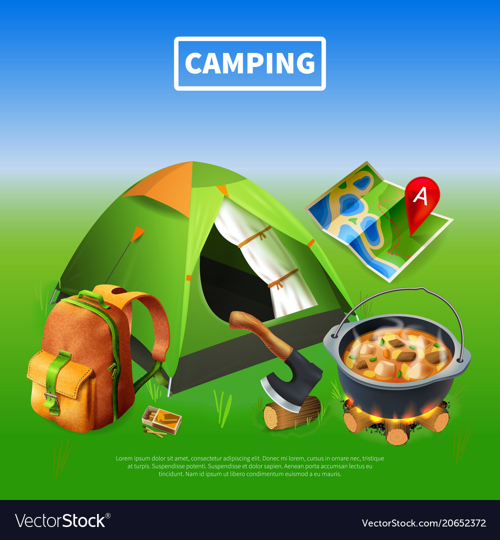 Camping realistic colored poster