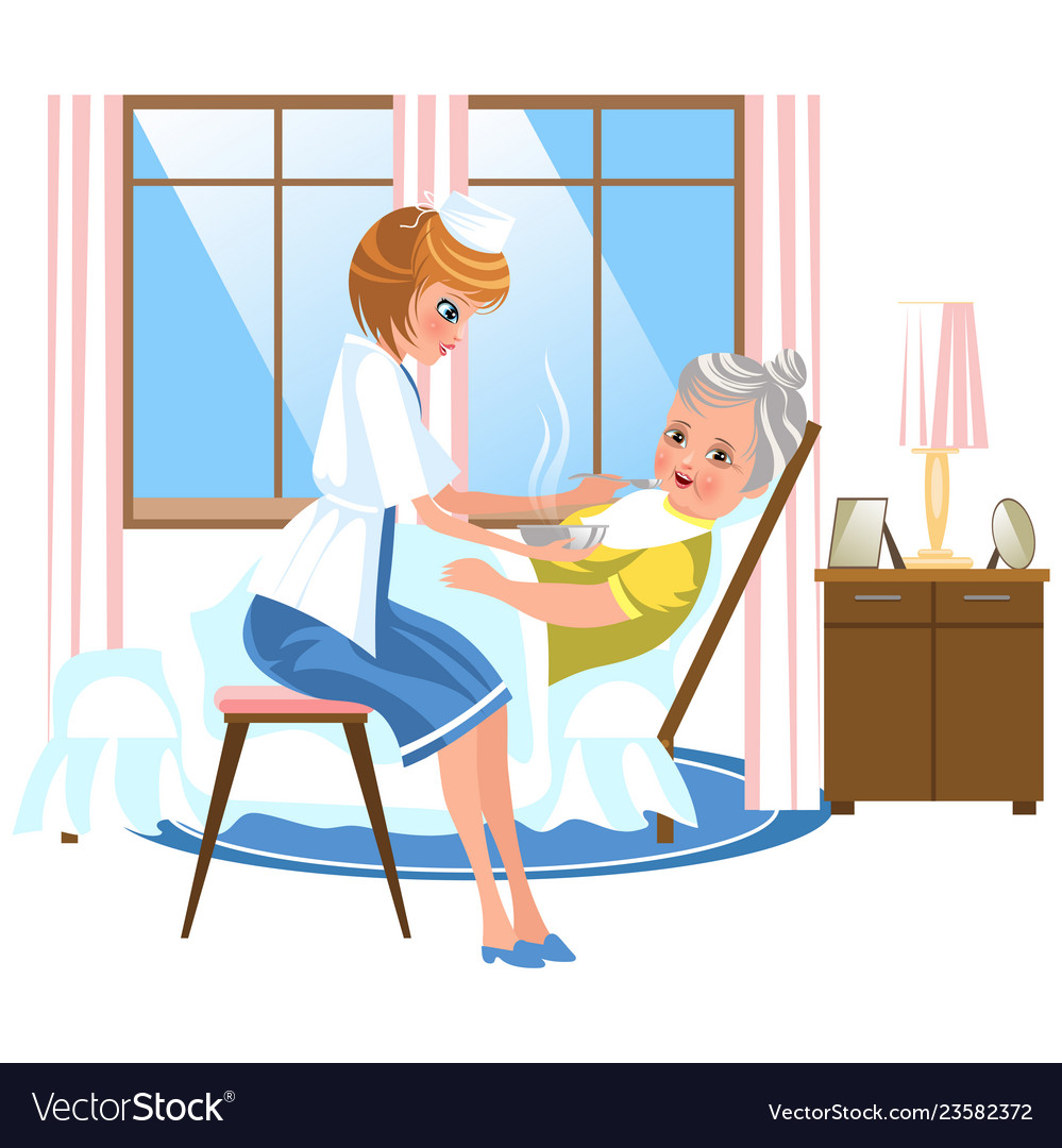 Cartoon Sweet Nurse Feeding Old Lady In Bed Vector Image