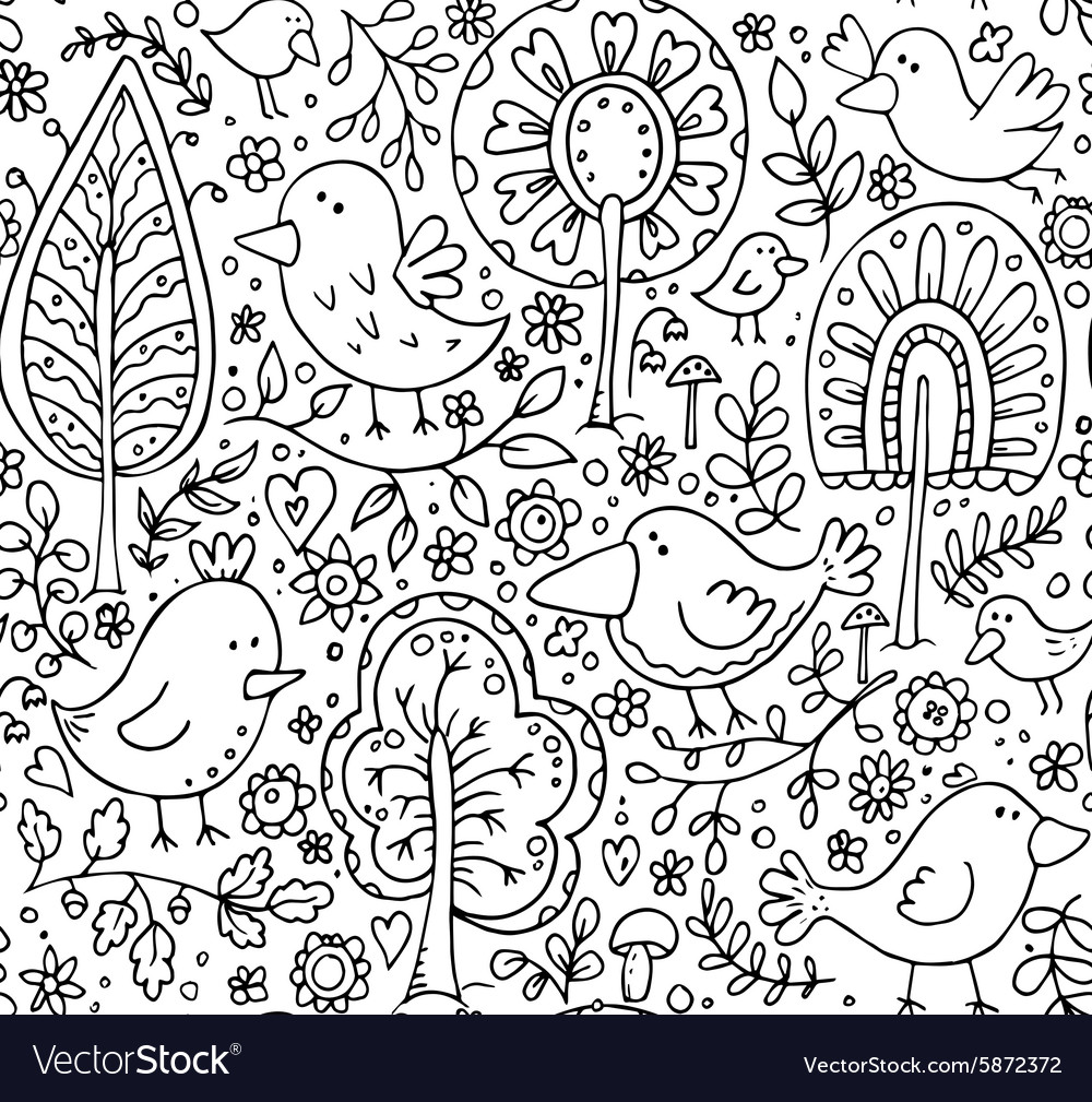 Floral seamless pattern with trees and birds
