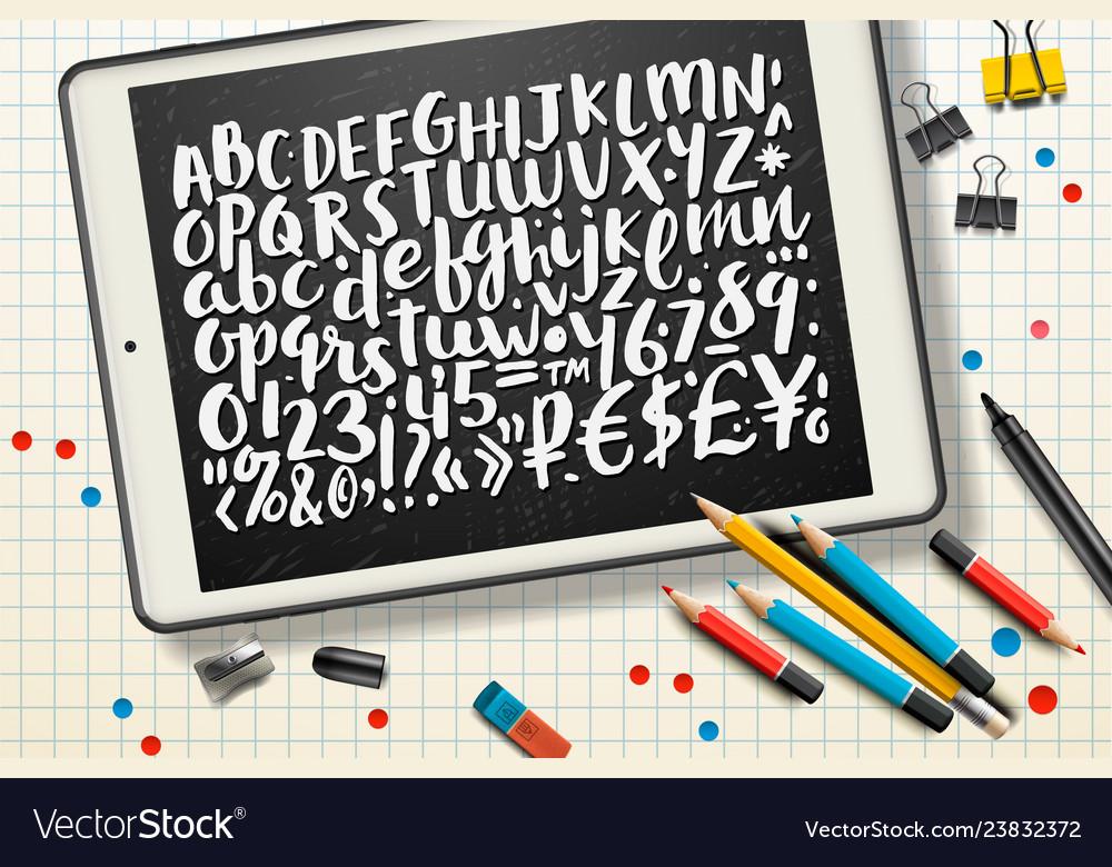 Handwritten brush letters symbols numbers