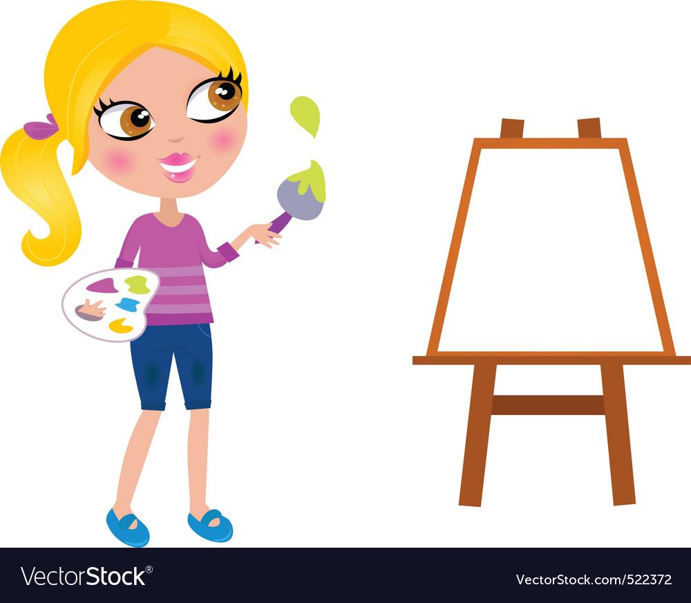 Happy little painter girl vector image