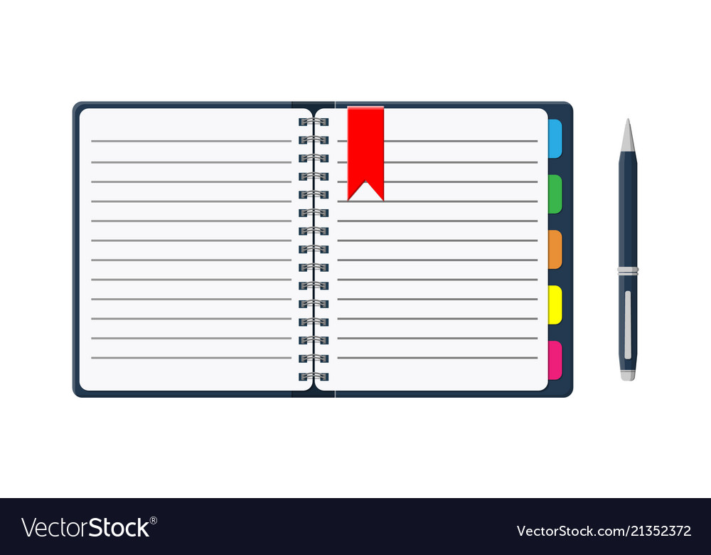 Notepad and paper sheets with bookmarks and pen