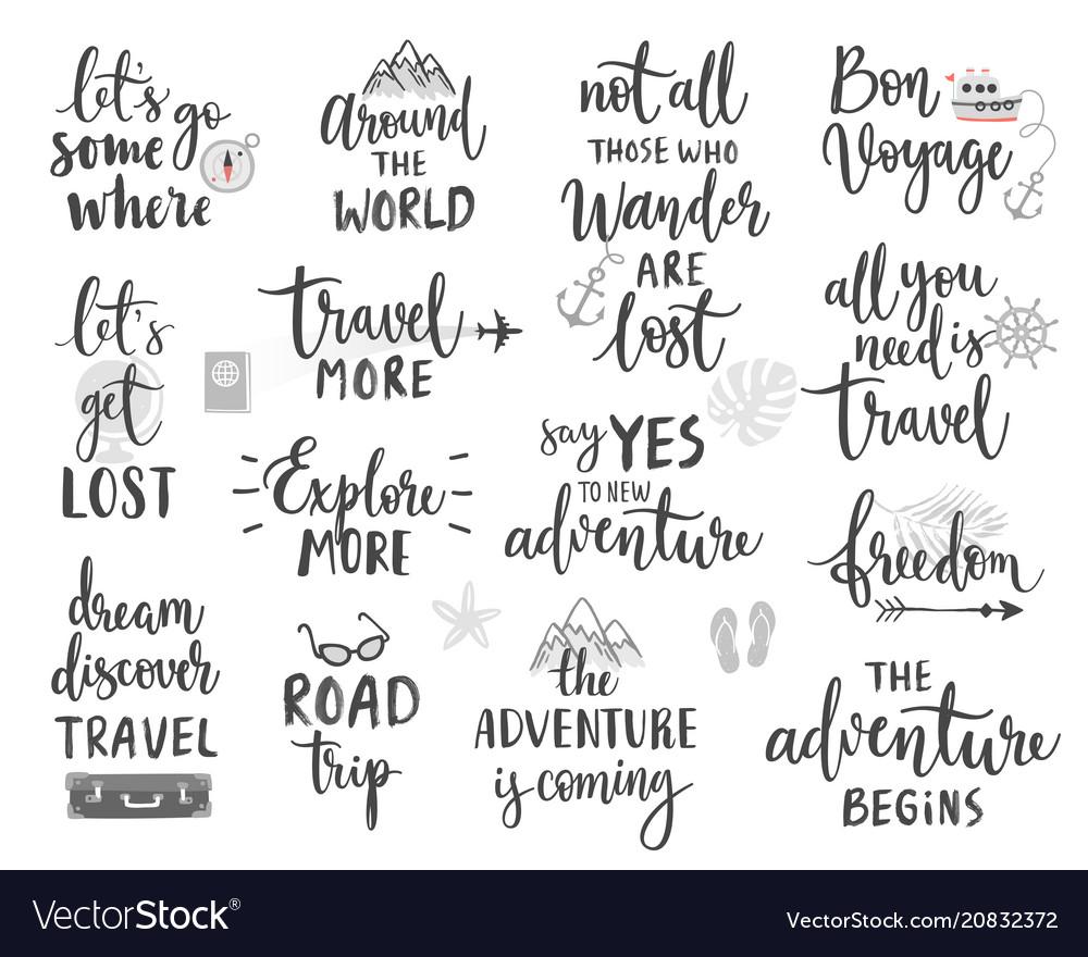 Travel lettering design set