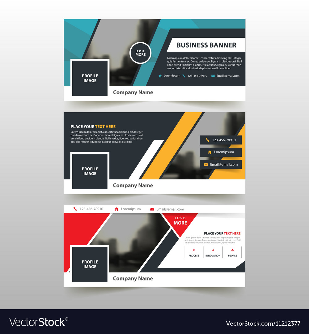 Abstract triangle corporate business banner set