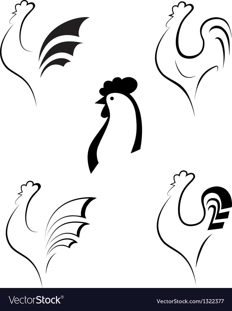 Chicken and cockerel vector image