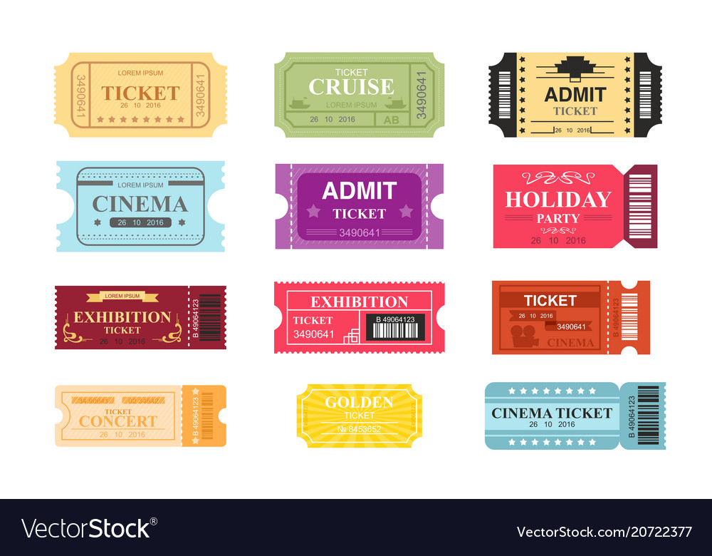 Collection of colorful tickets