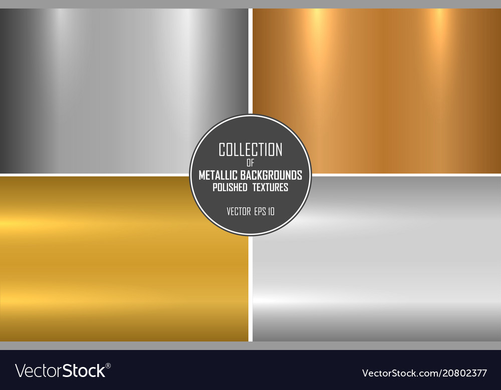 Collection of realistic metallic textures shiny