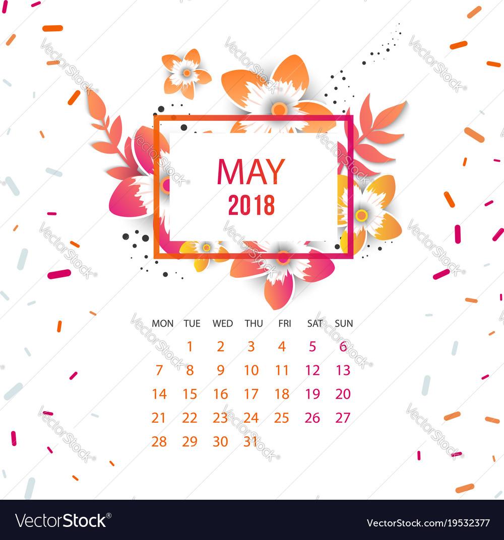 Design Floral Template Calendar 2018 Royalty Free Vector