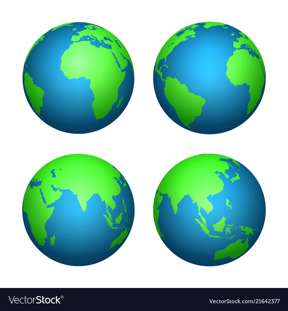 Earth 3d globe world map with green continents