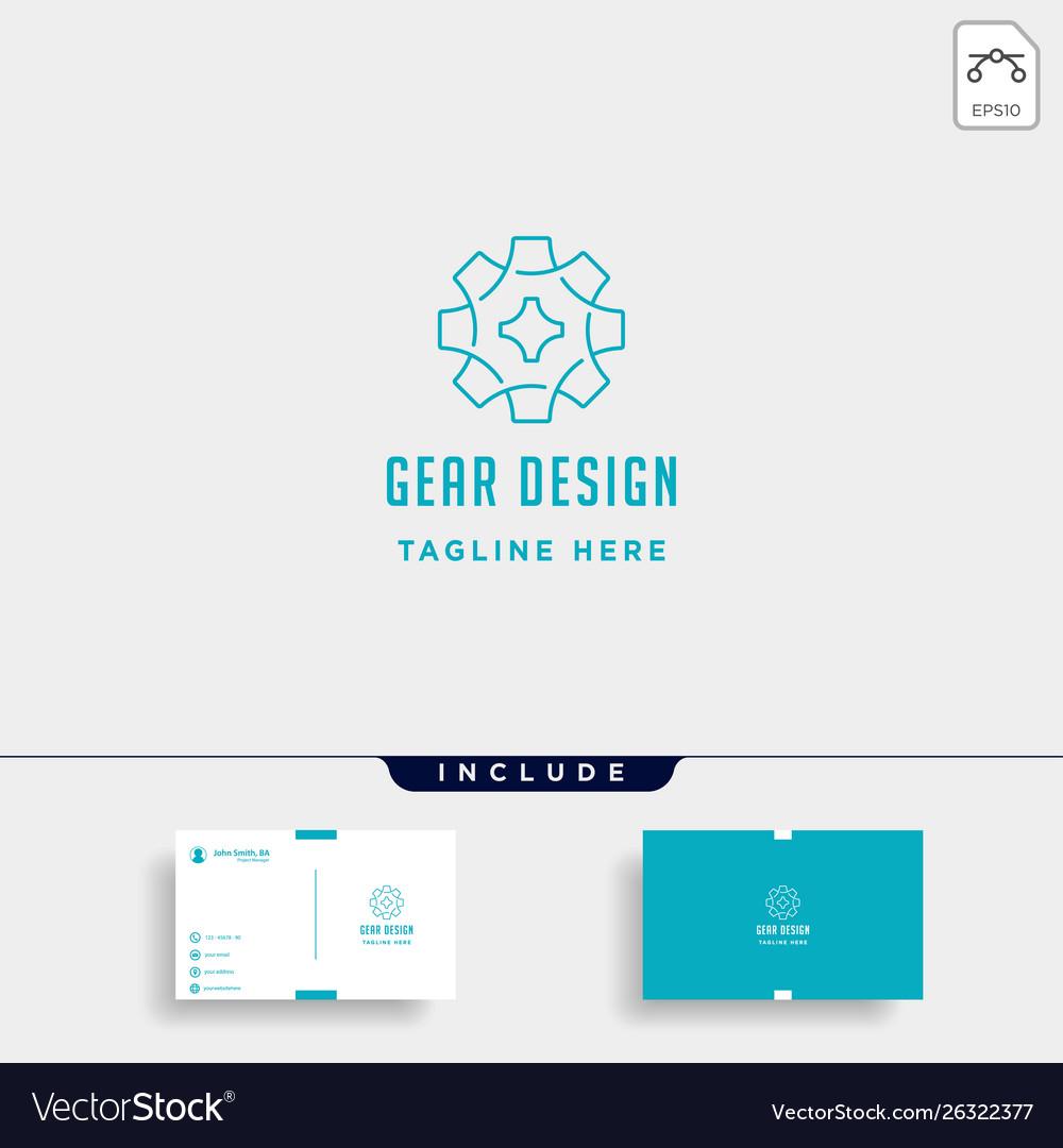 Gear logo line icon industry initial g symbol