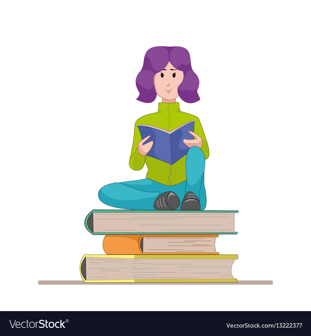Girl with the textbook sitting on a pile of books