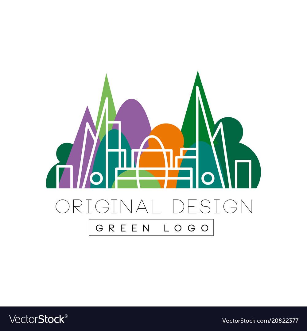 Green logo original design park and city buidings