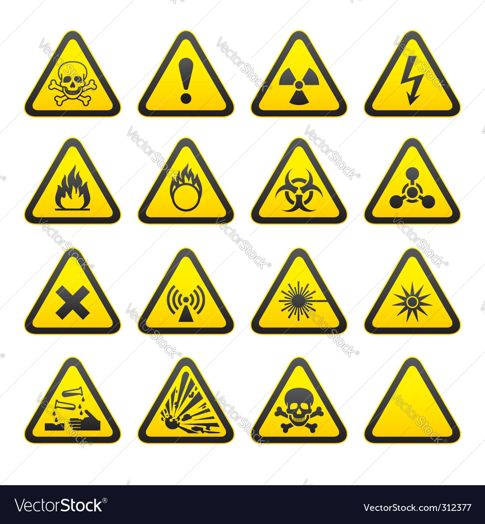 Hazard signs vector image