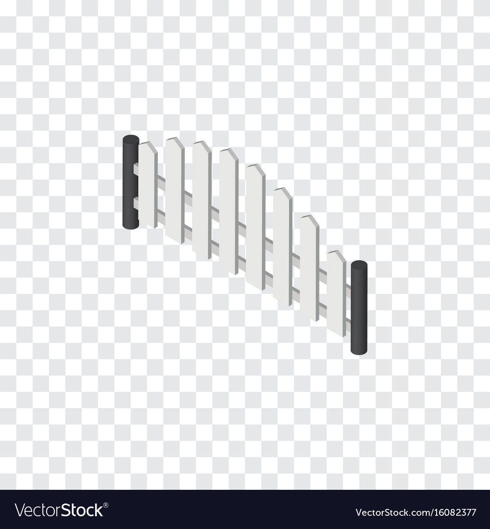 Isolated wooden fence isometric barricade