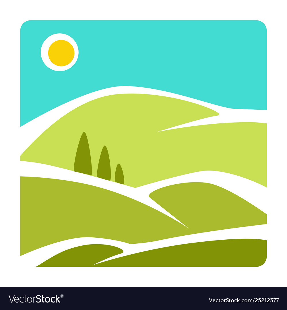landscape isolated icon corporate identity hills vector image vectorstock