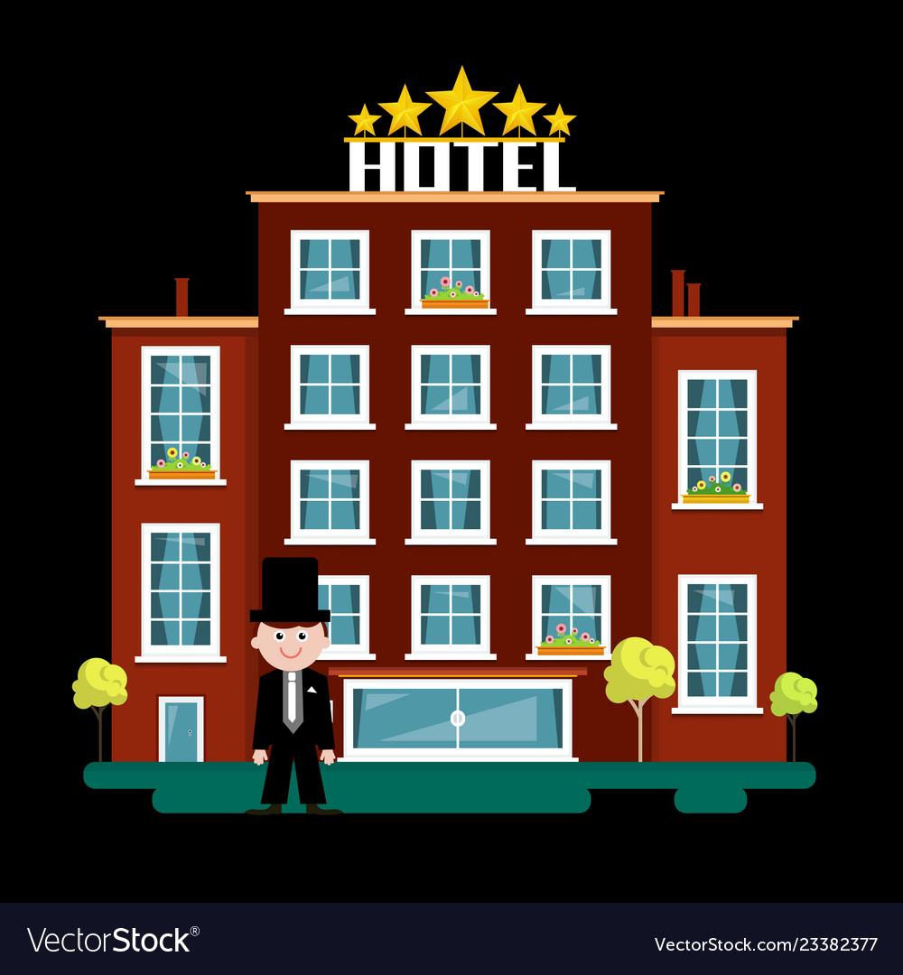 Night hotel building